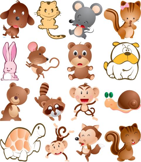Im genes infantiles de animalitos imagen vectorial - Imagenes animales infantiles ...