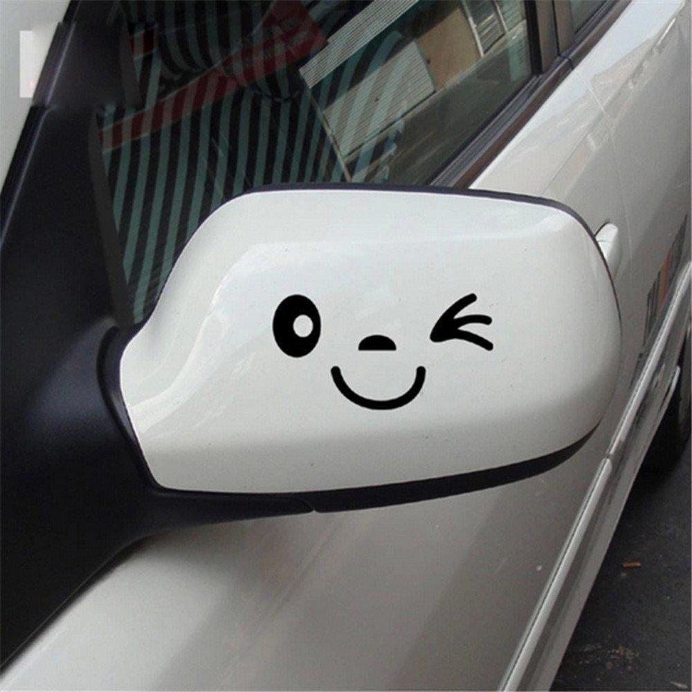 Car side mirror sticker design - 2pcs Smile Face Design 3d Decal Decoration Sticker For Car Side Mirror Rearview