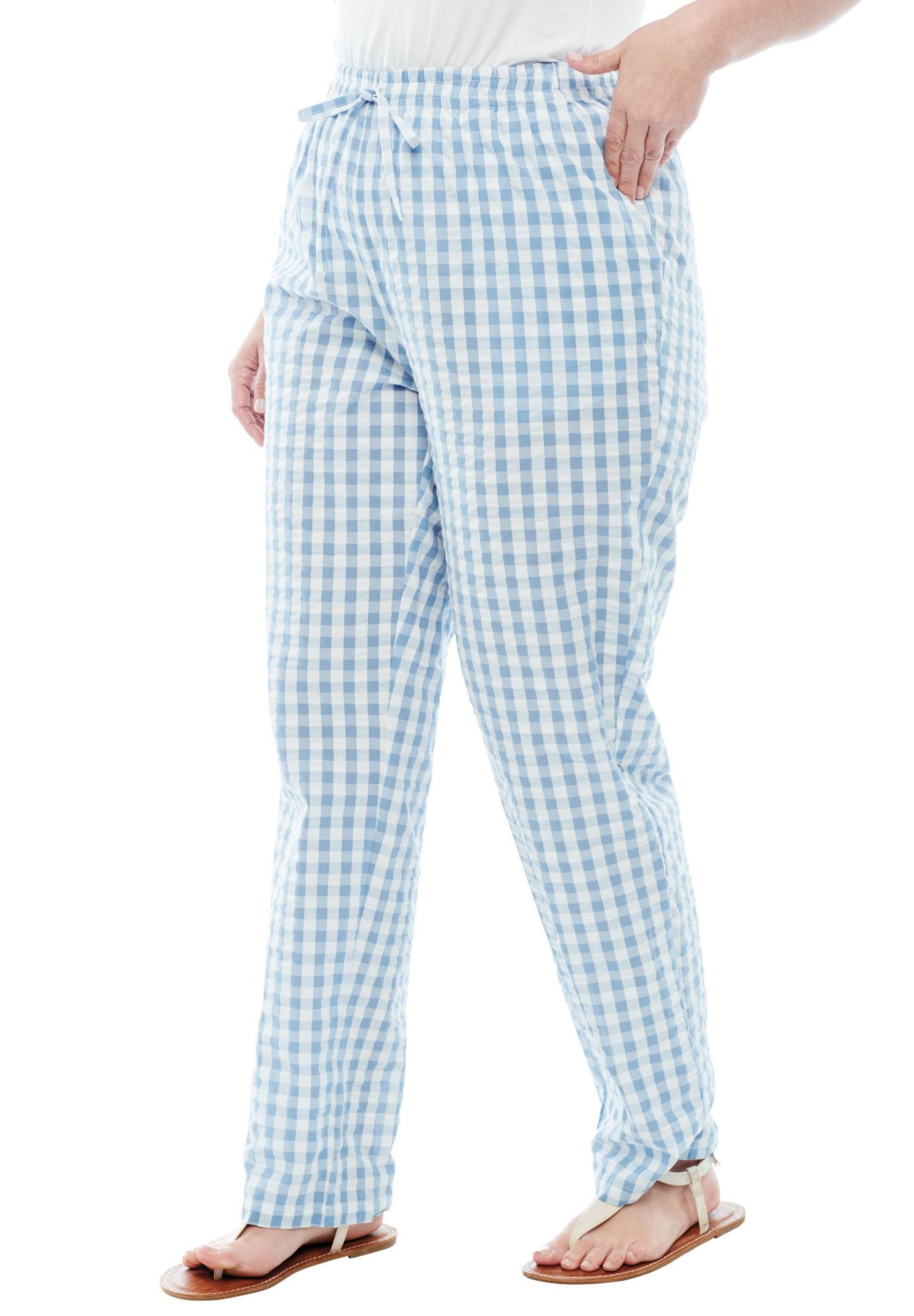 Petite Seersucker Pants Women S Plus Size Clothing Seersucker