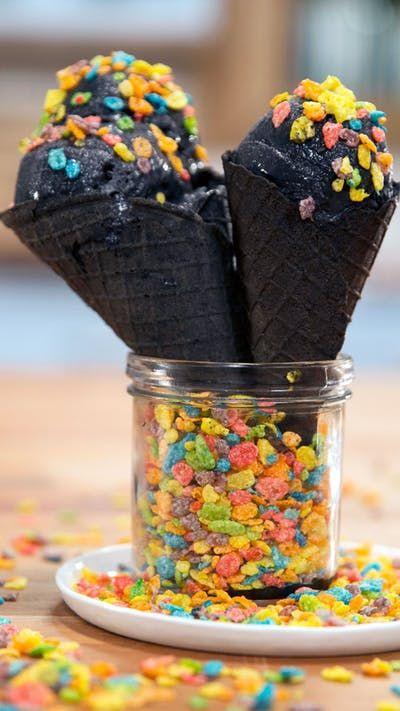 goth black ice cream recipe black ice cream waffle cone recipe dessert recipes on hebbar s kitchen recipes videos ice cream id=83574