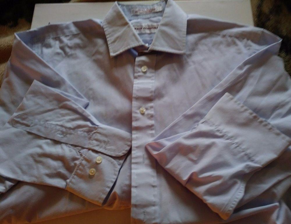 John Ashford Mens Blue Long Sleeve Solid Dress Shirt Size 16-32/33 #JohnAshford