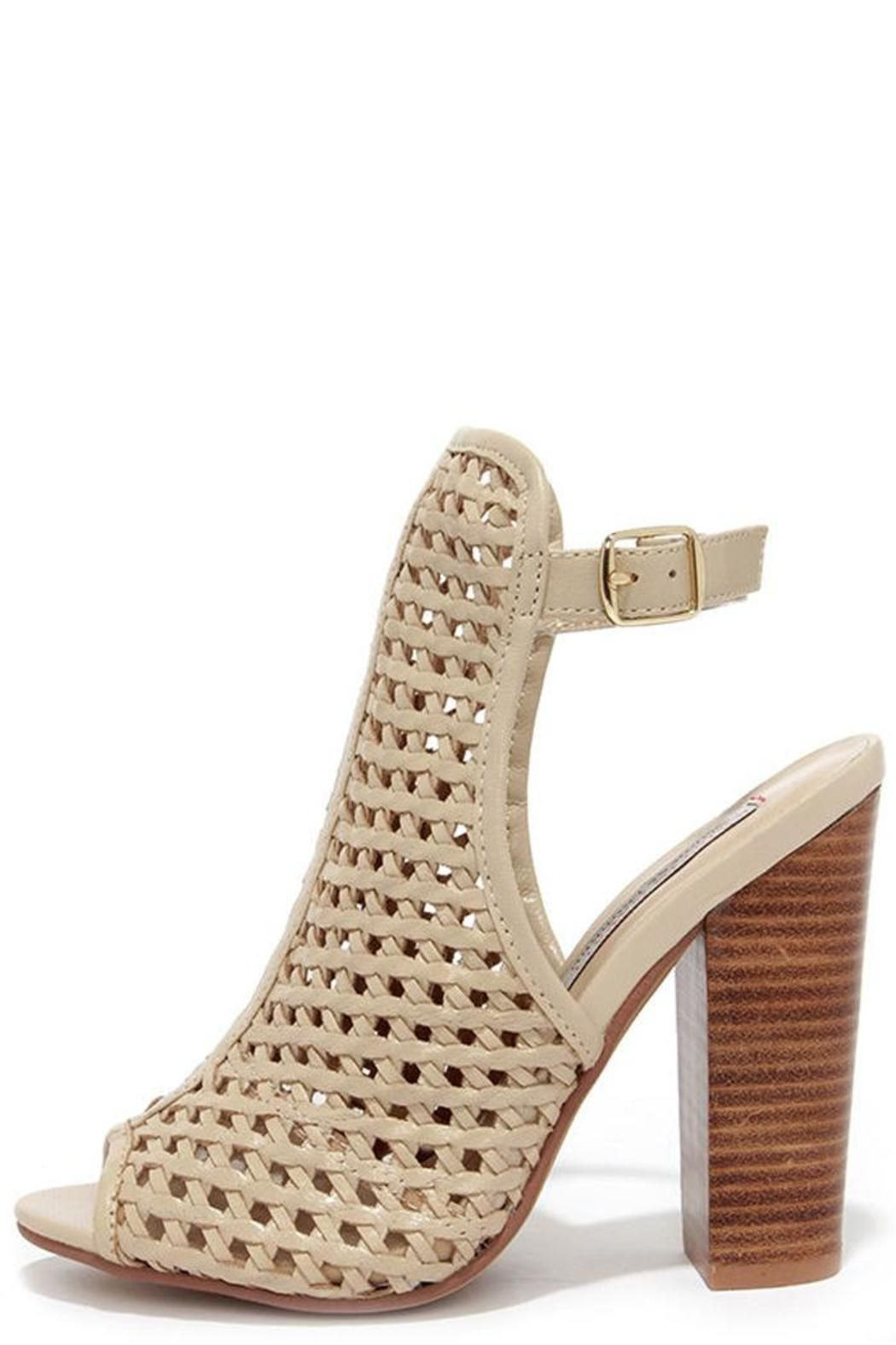a1445427562 Versatile leather mesh front heeled sandal with buckle ankle strap. Pair  with any spring summer outfit or make it work for the cold weather with  printed ...