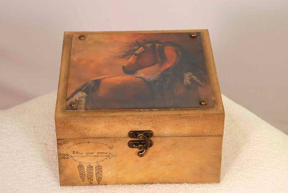 Bohemian Decoupage Box, Native American Free Spirit