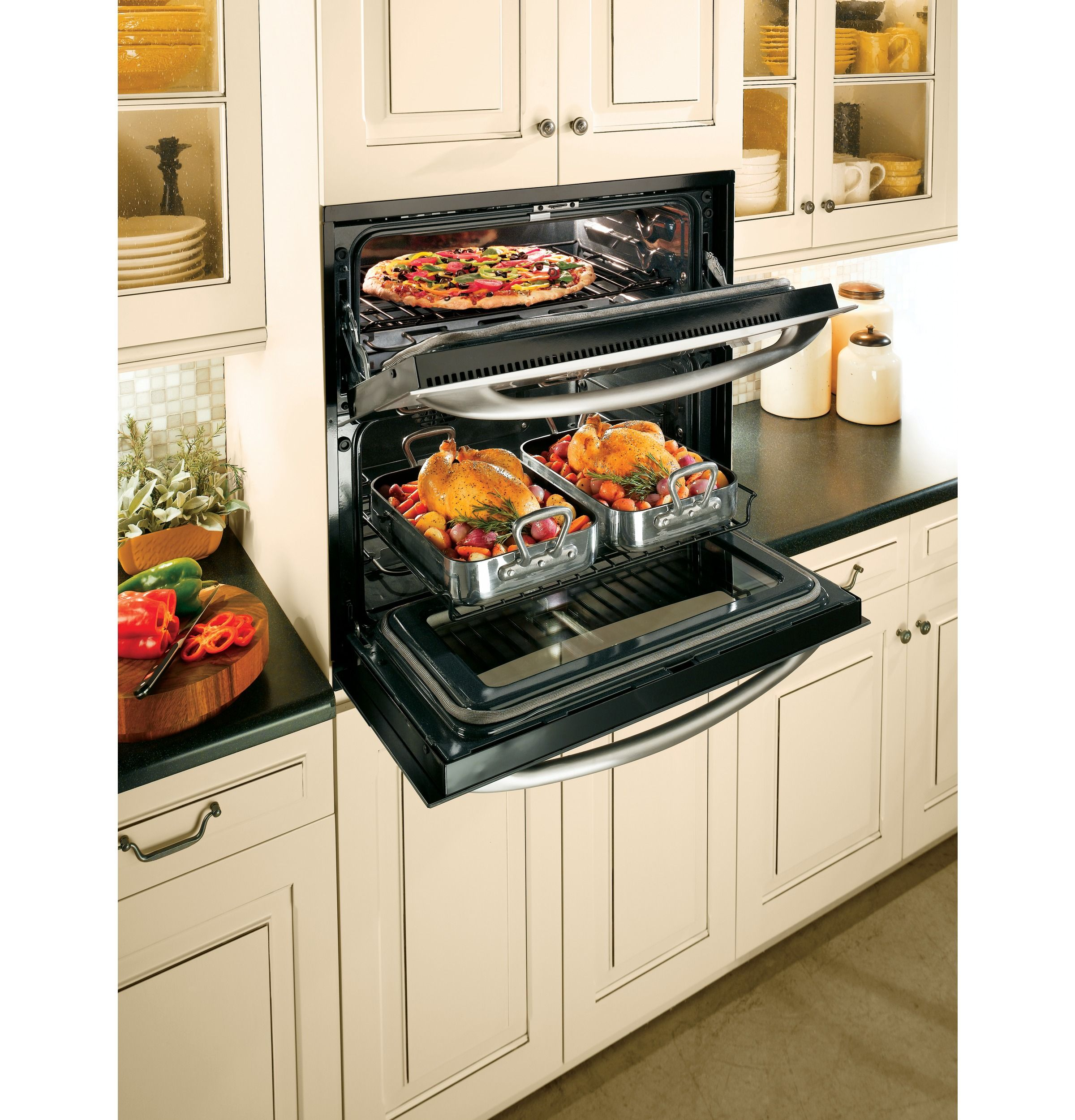 Double Oven In A Single Space Wall Oven Kitchen Wall Oven Outdoor Kitchen Appliances