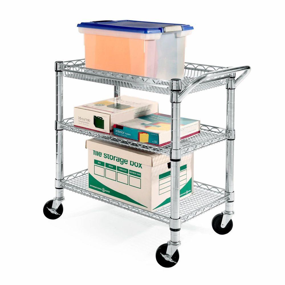 Heavy Duty Commercial Grade Utility Cart Shelves Basket Kitchen Office Storage Sevilleclics