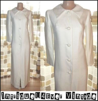 "Vintage 60s White Shantung Floor Length MOD Dress Coat Jacket Jackie O L/XL 39""b"