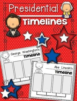 Washington and Lincoln BASIC Timelines for Kindergarten and First Grade. $
