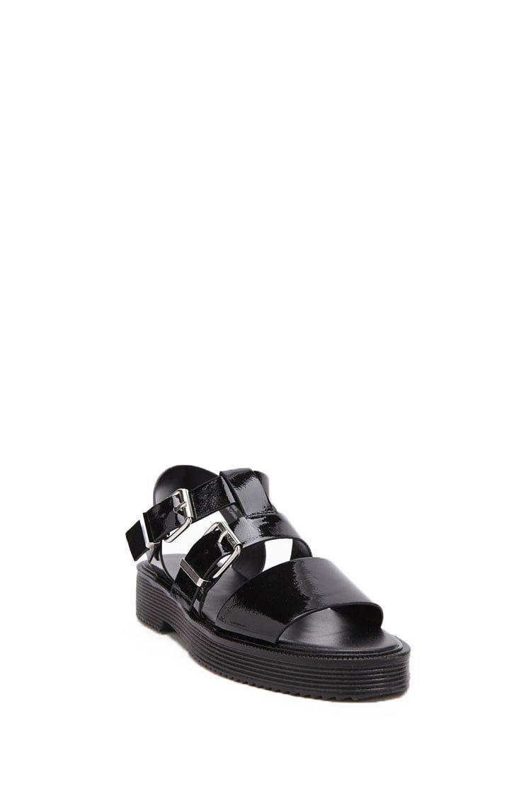9d520735e1a7 Faux Patent Leather Flatform Sandals