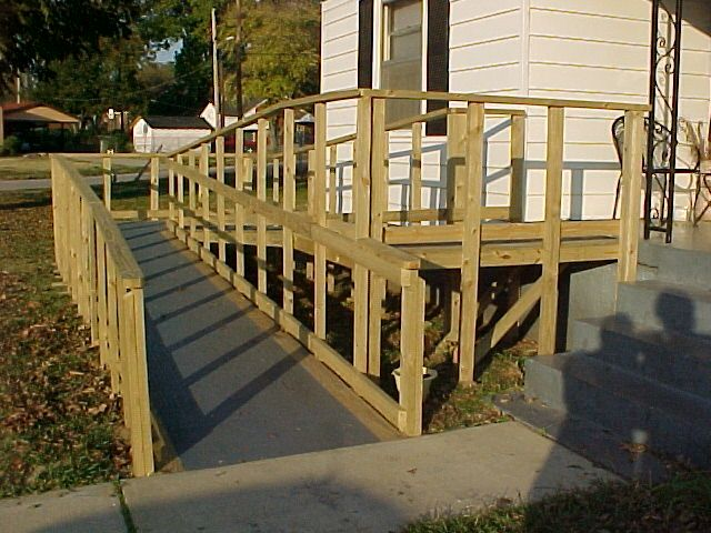 Diy wood wheelchair ramp curb appeal google search for Handicap home designs