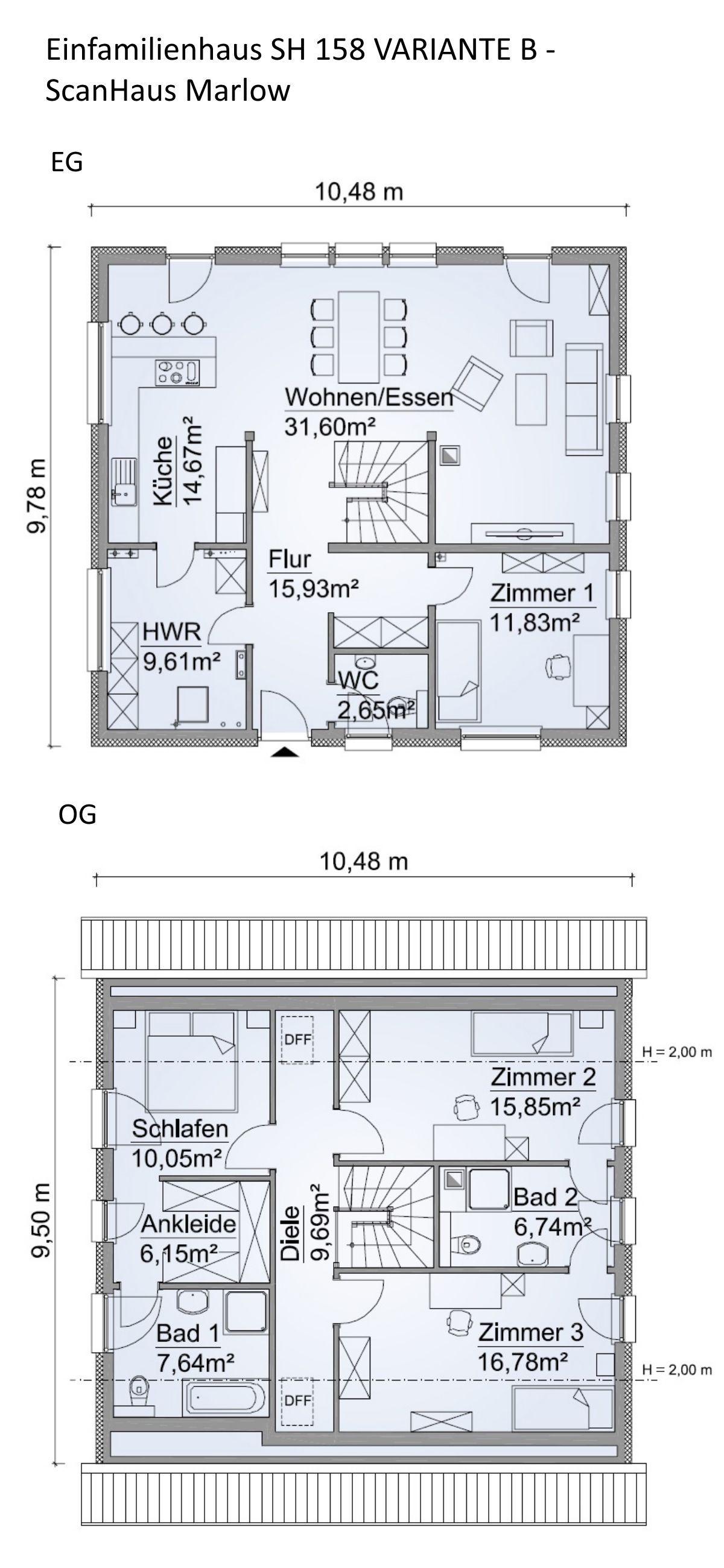 Einfamilienhaus SH 158 VARIANTE B mit Satteldach ScanHaus Marlow