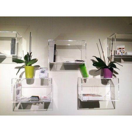 Cubo in plexiglass trasparente componibile per libreria for Arredo shop online