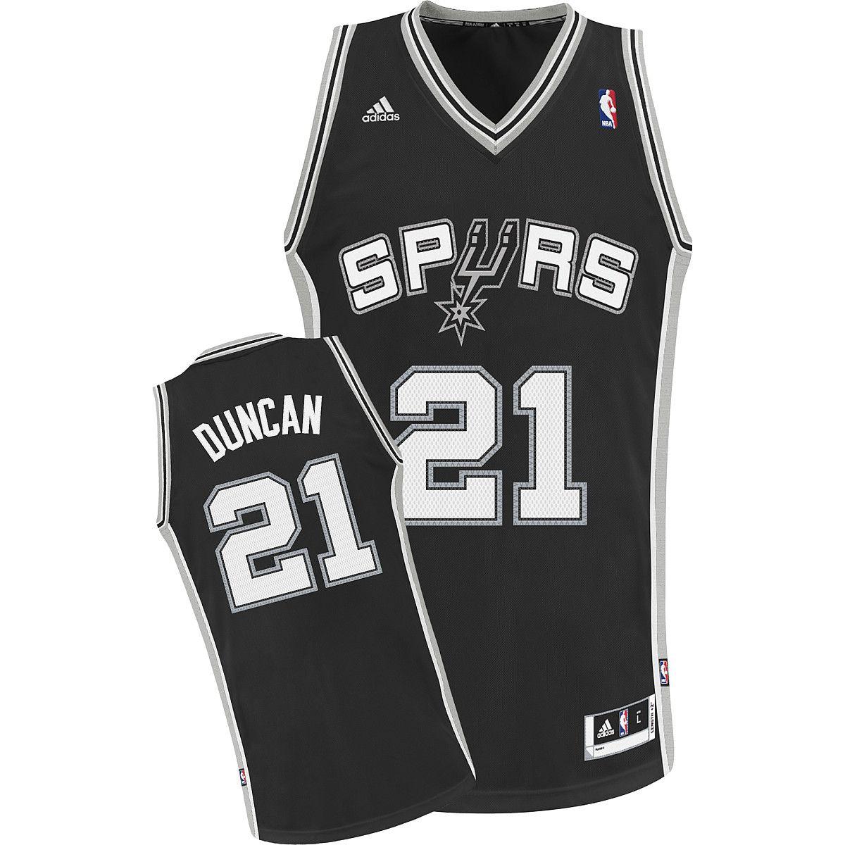 big sale 1c397 950de adidas San Antonio Spurs Tim Duncan Swingman Road Jersey ...