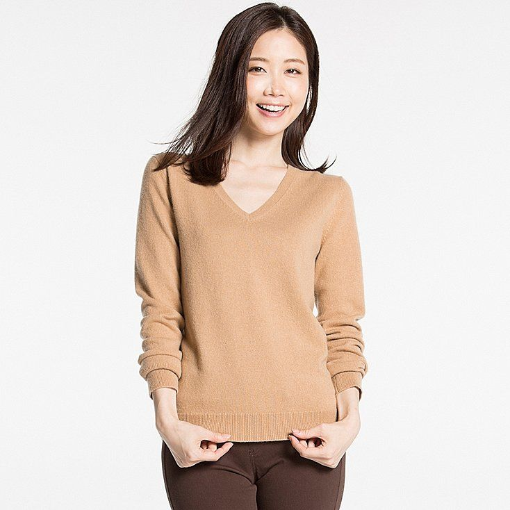 Women Cashmere V-Neck Sweater | Cashmere, Uniqlo and Brown