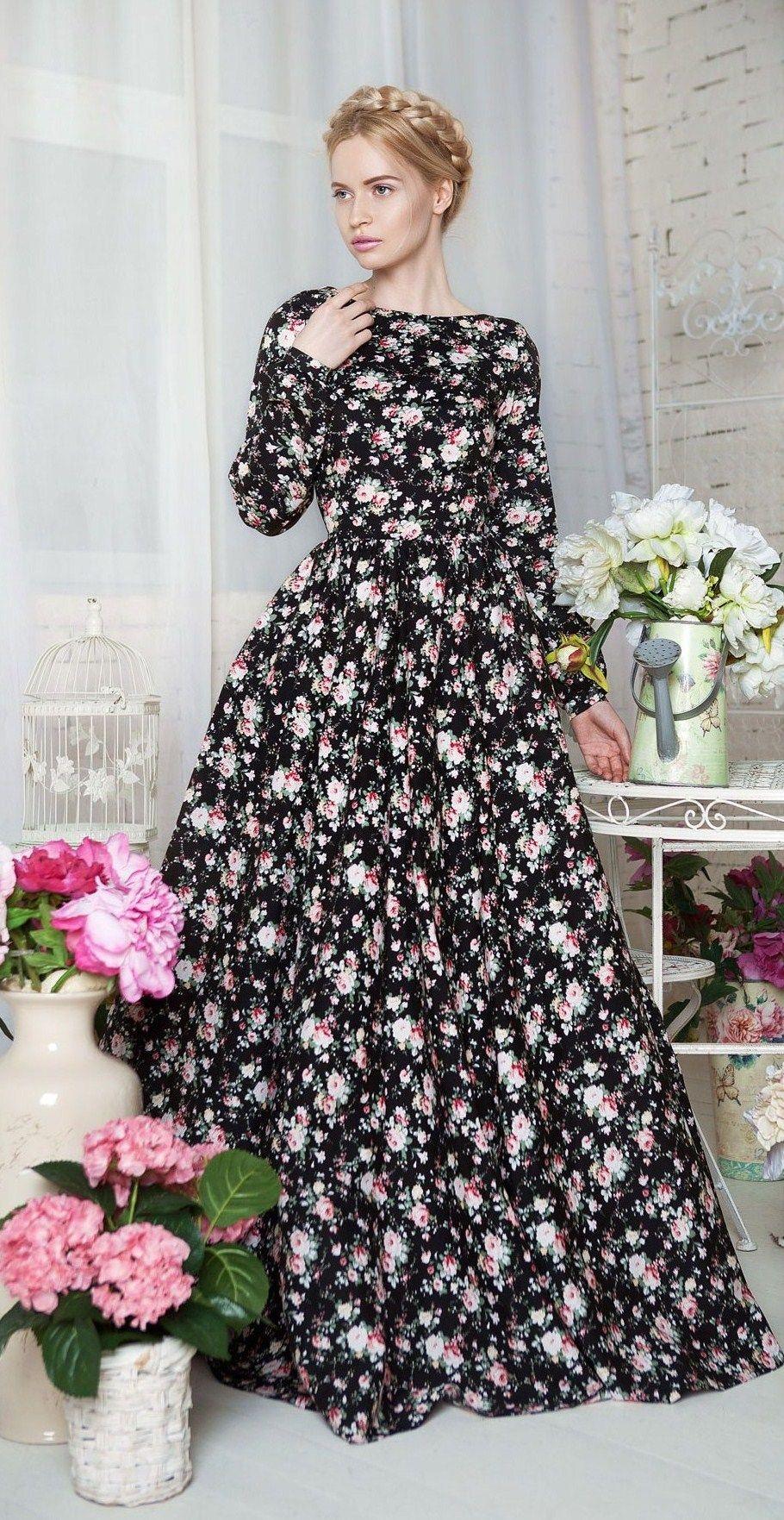 Long floral dress designer yulia prokhorova russia fashion