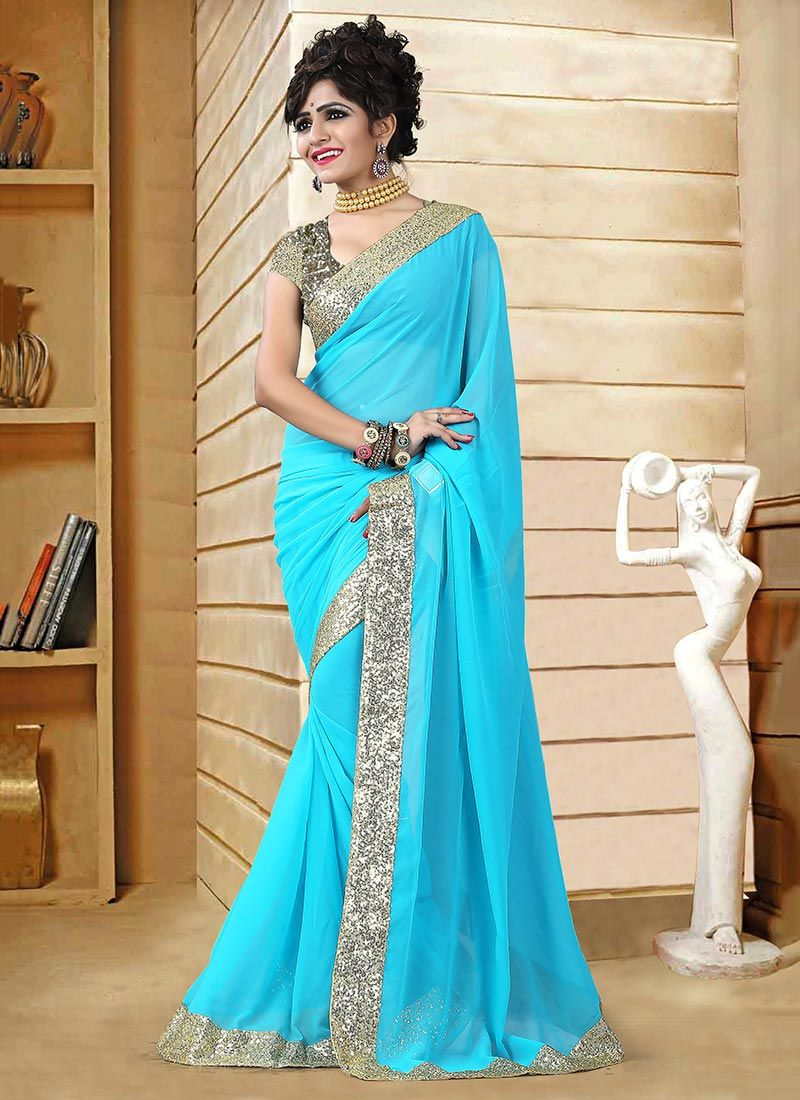 Saree for freshers party in college turquoise georgette saree  indian u fashion  pinterest  georgette
