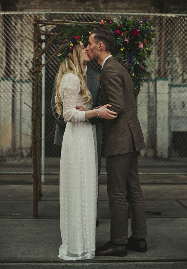 wedding day inspiration -- long column dress w long sleeves, flower crown, long ombre blonde hair down and softly curled