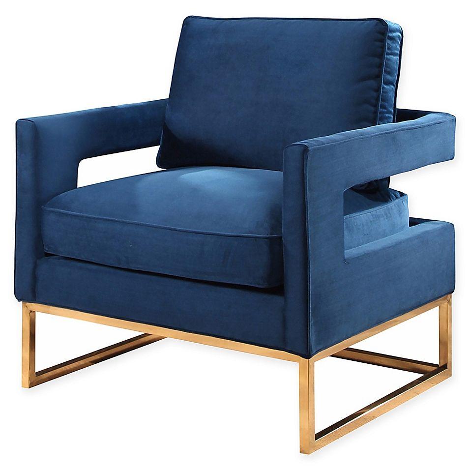 Abbyson living cromwell velvet armchair in navy armchair