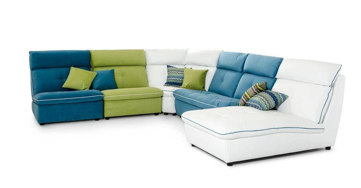Multi Color Italian Contemporary Leather And Fabric Sectional Sofa