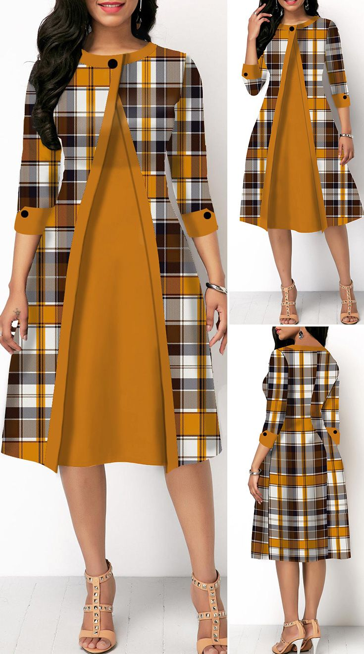 Button Detail Plaid Print Round Neck Dress