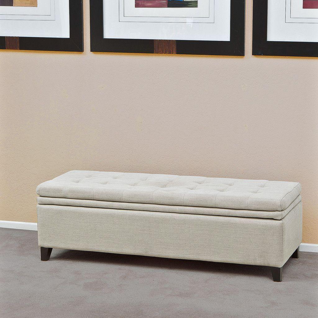 Sandford Fabric Upholstered Storage Ottoman Bench
