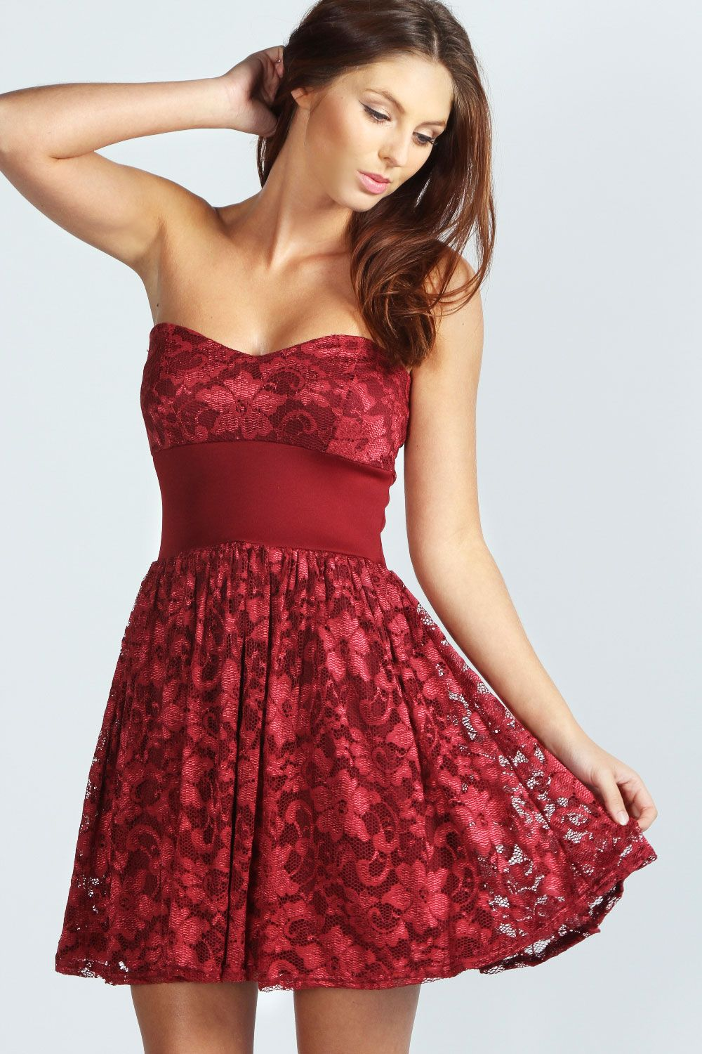 Kate Bandeau Lace Skater Dress In Deep Red Red Lace Maroon Burgundy Dinner Date Drinks Pretty Dresses Casual Long Sleeve Skater Dress Lace Skater Dress [ 1500 x 1000 Pixel ]
