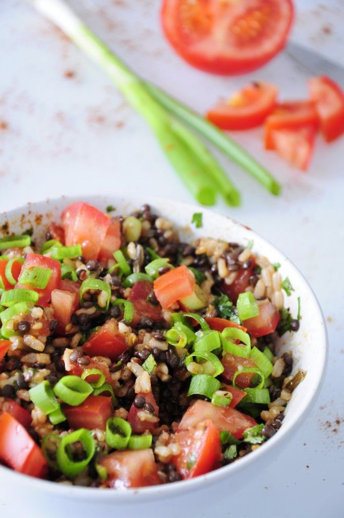 Beluga Black Lentil Salad with Rice - sub avocado plus water for the olive oil