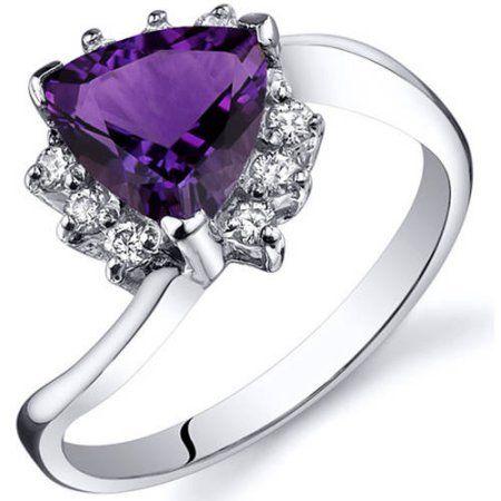 Size 8 Women/'s Purple Amethyst Engagement Ring Rhodium Silver Platinum Plated
