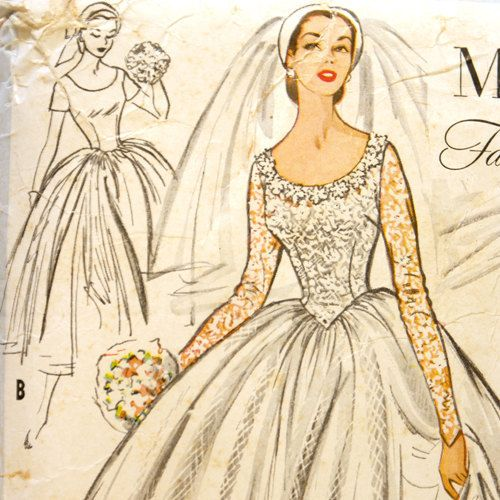 Mccall 39 s 9677 misses 1950s wedding dress pattern bust 30 for Mccall wedding dress patterns