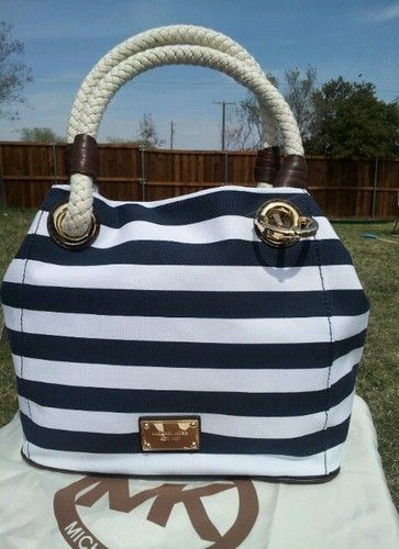 6e58fd4e086 Michael Kors Marina Navy Blue White Canvas Tote Anchor Stripe Handbag