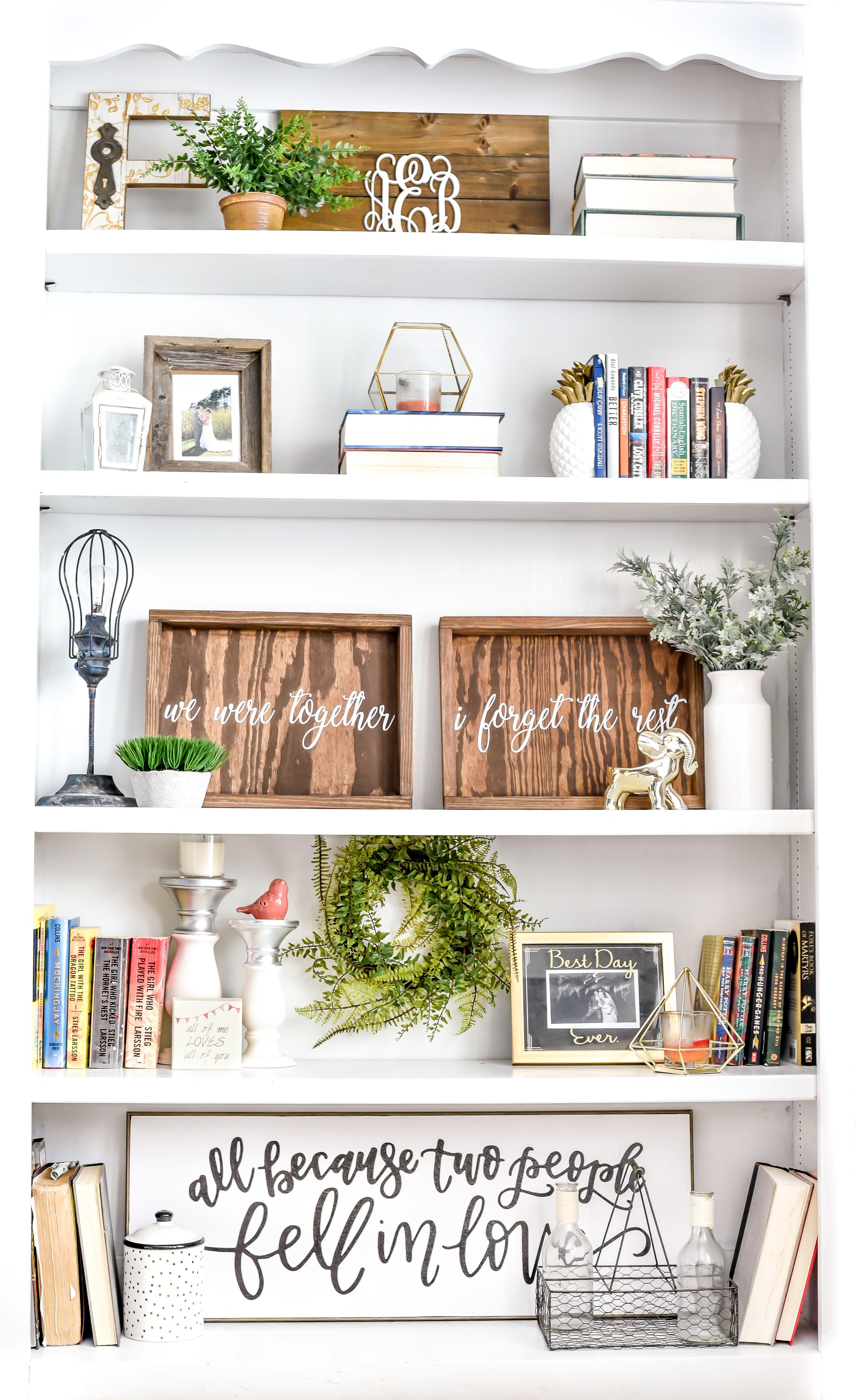 modern farmhouse bookshelf styling Farmhouse bookshelf