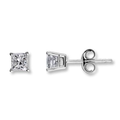 Diamond Earrings 1 2 Ct Tw Princess Cut 14k White Gold