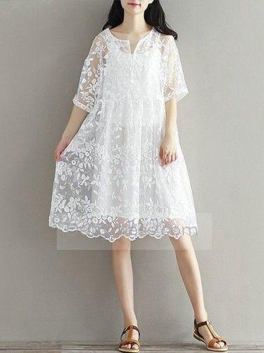Sparen Sie einen Sommer lose Spitze sticken schwangeres Kleid Boot-Ausschnitt White Fashion Mutterschaft Brautkleider Plus Size Itemwd0342 Hot Sale  – festliche Kleider