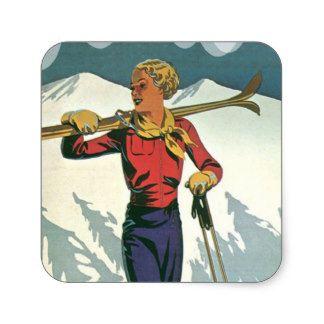 Vintage winter sports - Ready to ski Square Sticker