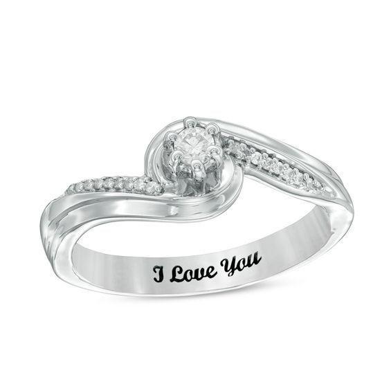 Zales 1/8 CT. T.w. Diamond Twist Shank Promise Ring in Sterling Silver (1 Line) M2FtGcaY