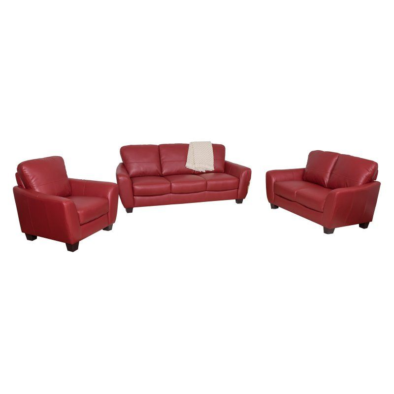 Tufted Sofa CorLiving Piece Bonded Leather Sofa Set Red LZY Z Durable