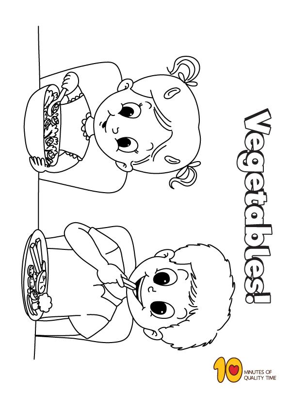 Kids Eating Vegetables Coloring Page Vegetable Coloring Pages Eating Vegetables Children Eating