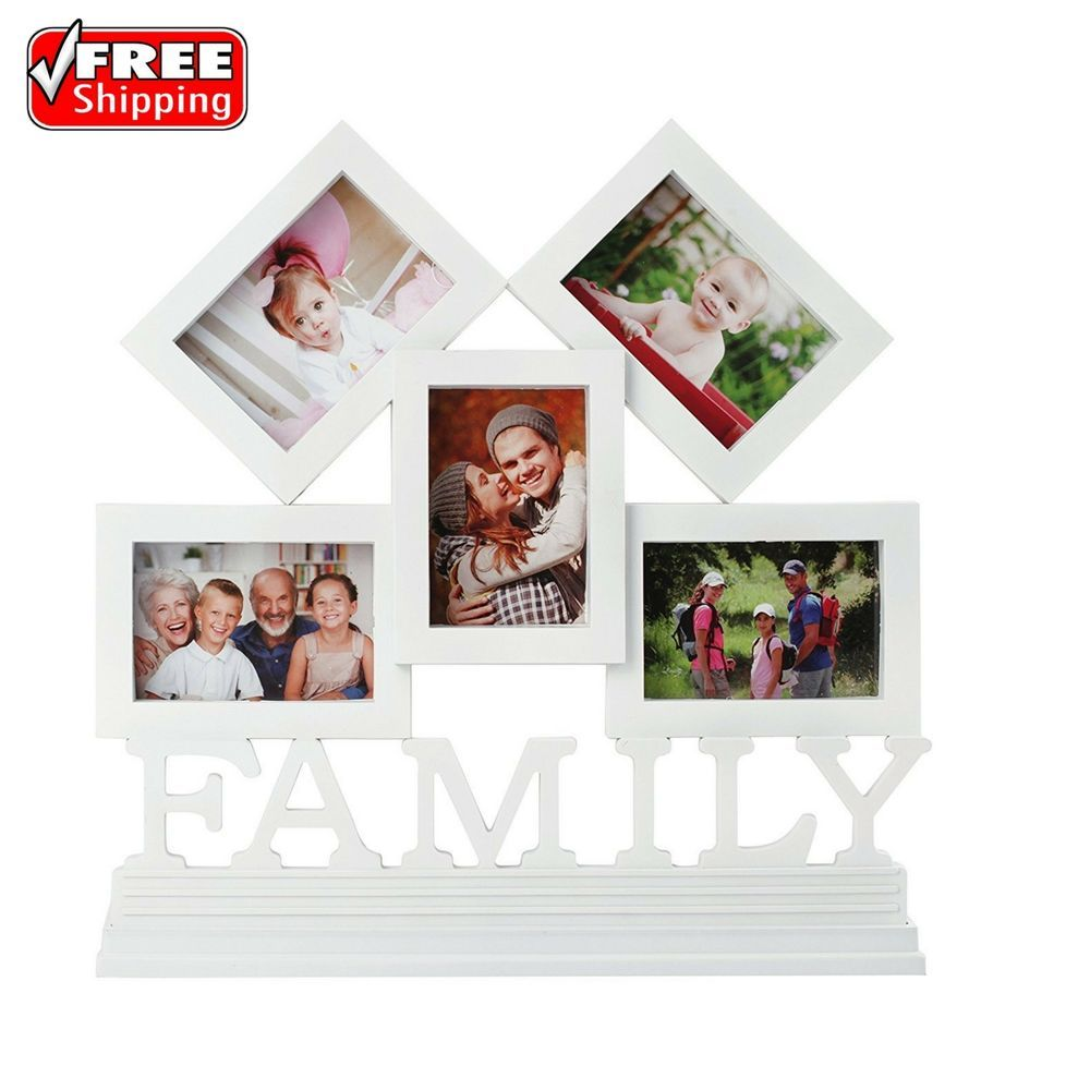5-Opening Family Wall Photo Picture Collage Hanging Frame In White ...
