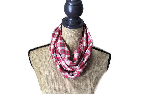 Red Plaid Infinity Scarf Red Flannel Scarf Loop by UrbanThreader