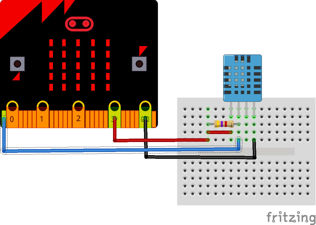 Microbit And Dht11 Temperature Humidity Sensor Example Micro Circuit Diagram Electronics
