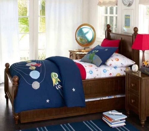 Pottery Barn Kids Nathan Full Queen Duvet Cover Blue Navy