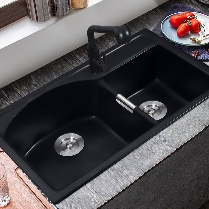 Upgrade Your Kitchen With This Double Bowl Kitchen Sink Clean Lines Matched With Matte Black Finish It Adds A Stylish Charm T