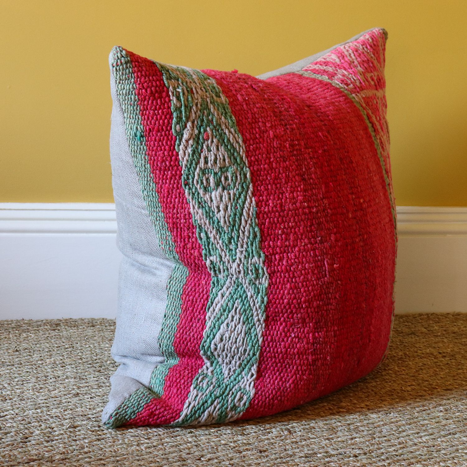 Large Feather Filled Frazada Floor Cushion Made From A Peruvian Blanket Fantastic Colours Handwoven Textiles And Floor Cushions Hand Woven Textiles Cushions