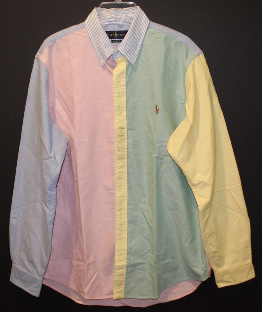 0a33ce2ca Polo Ralph Lauren Mens Funshirt ColorBlock Oxford Button-Front Shirt NWT  Size L  PoloRalphLauren  ButtonFront