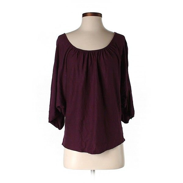 Pre-owned Velvet 3/4 Sleeve T Shirt ($16) ❤ liked on Polyvore featuring tops, t-shirts, burgundy, velvet top, three quarter length sleeve tops, velvet t shirt, three quarter sleeve t shirts and purple top