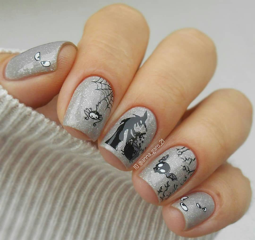 So cute spider and bat halloween nails photo by annagaro