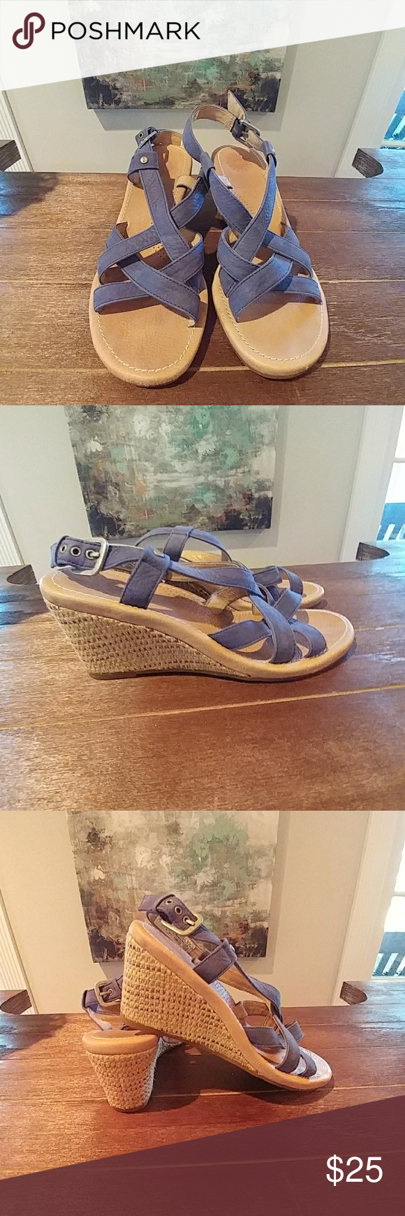 Ugg Wedges Blue wedge sandal with multi colored weaved wedge heel. EUC still lots of
