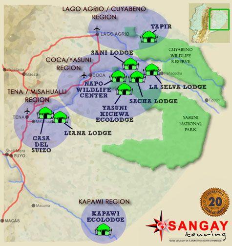 Ecuador Sangay Touring Amazon Lodge Map Amazon Lodge Amazon