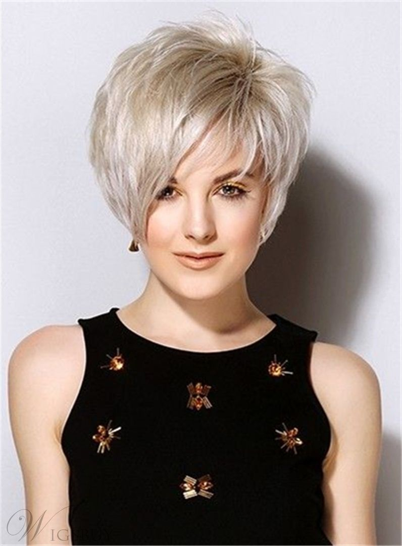 Popular short straight haircuts synthetic hair side swept friinges