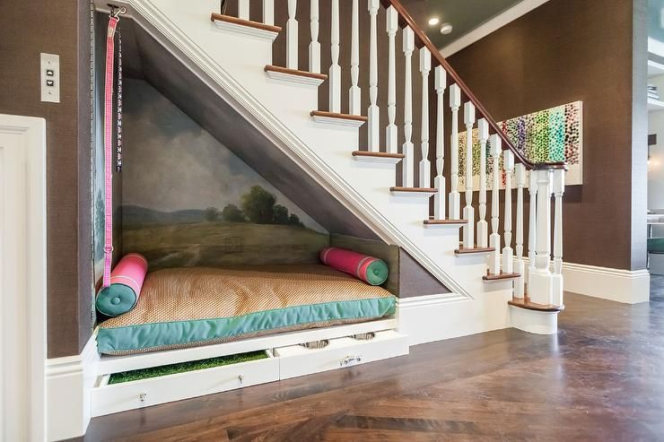 Under The Stairs Dog Bed Contemporary Entrance Foyer Bed Under Stairs Room Under Stairs Under Stairs Nook