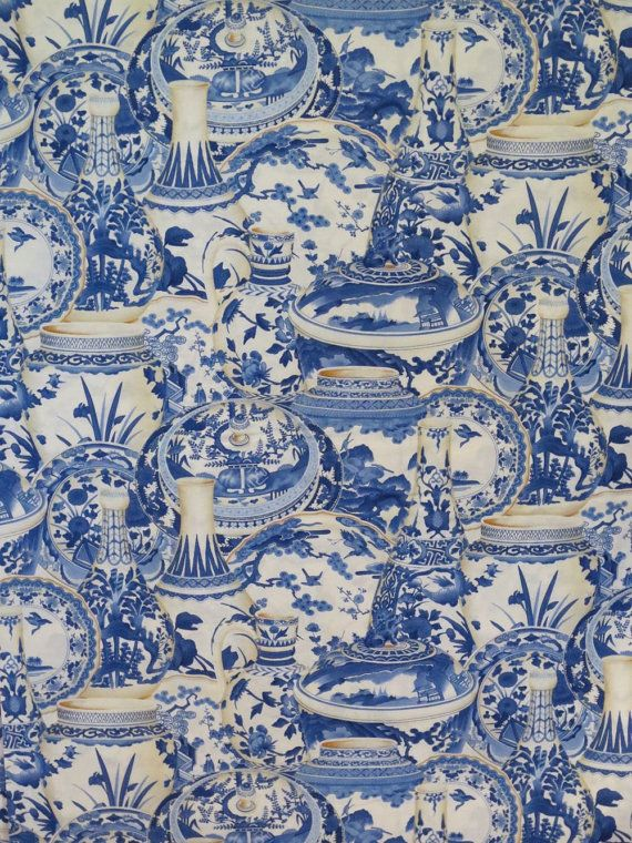 Blue Willow Vase Print Pure Cotton Fabric by fabricsandtrimmings, $9.98